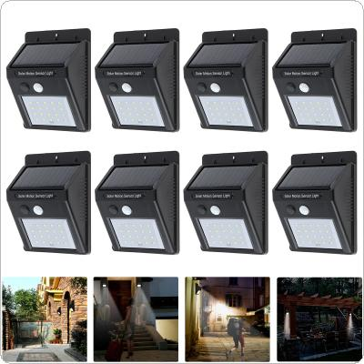8pcs Outdoor Waterproof 20 LED Rechargeable Solar Power PIR Motion Sensor Wall Light for Garden / Yard / Driveway