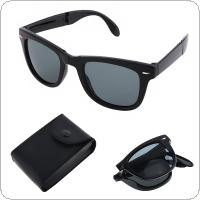 Fashion Foldable Explosion proof Sunglasses with Glasses Case and Anti UV for Shopping Travel Taking Photo