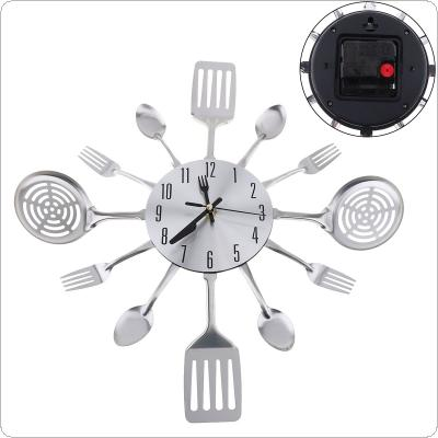 Silver Fashion Simple 3D DIY Wall Clock Cutlery Horloge with Knive and Forks for Kitchen Living Room