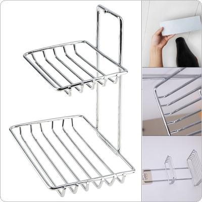 Double Wall Mounted Self Adhesive Stainless Steel Soap Dish Storage Holder for Bathroom Kitchen