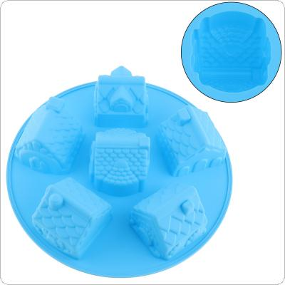 Creative Convenient Silicone DIY Mold with 6 Modules and House Type for Making Ice Cube Candy Chocolate Cake Cookie