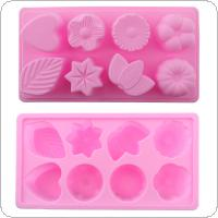 Creative Convenient Silicone DIY Mold with 8 Modules and Flowers & Plants Type for Making Ice Cube Candy Chocolate Cake Cookie