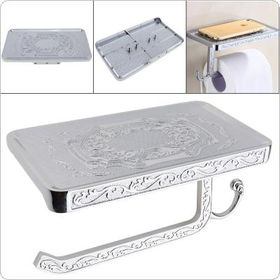 Silver Aluminum Carved Toilet Paper Holder with Wall Mounted Phone Rack for Bathroom