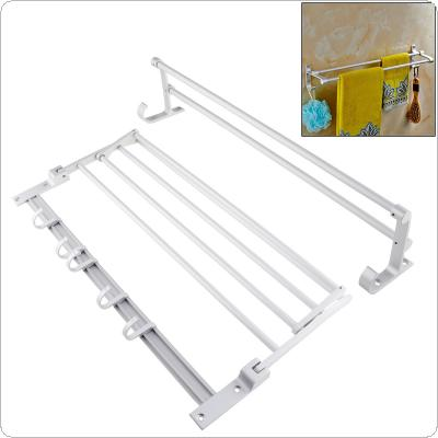Aluminum Double Rod Towel Bar Rack with Wall Mounted Double Towel Rail Holder + Hook for Bathroom