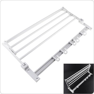 Aluminum Double Wall Mounted Towel Rail Holder with Hook Storage Rack for Bathroom