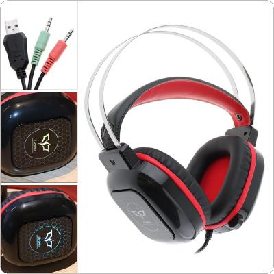 Head-mounted Double Steel Beam 3.5mm Stereo Headset Computer Headphones Earphones with Colorful Light and Microphone for Laptop Gamer