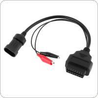 OBD-II 16 Pin Female to 3 Pin Adapter Connector Extension Cable with A Pair Crocodile Clips Fit for Fiat Alfa Lancia 3Pin