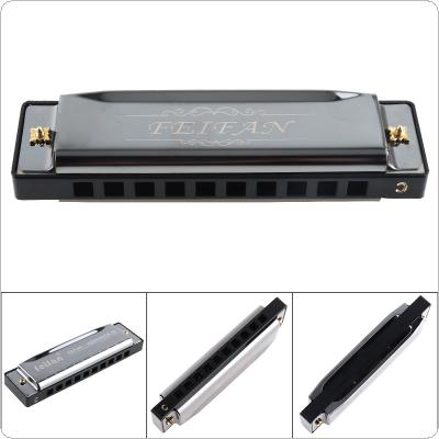 10 Holes 20 Tone Matte Black Harmonica Blues Harp Mouth Organ Stainless Steel Musical Instrument for Beginner
