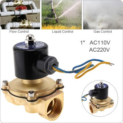 "1"" AC 110 / 220V Brass Electric Solenoid Valve Pneumatic Valve with Two Pass Type and 1"" Pipe Interface for Water / Oil / Gas"