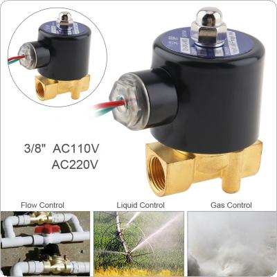 "3/8'' AC 110 / 220V Brass Electric Solenoid Valve with Two way Two Position and 1"" Pipe Interface for Water / Oil / Gas"