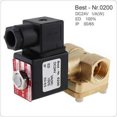 1/2'' DC 24V Brass Electric Solenoid Valve Normally Closed Type Valve with Pilot Diaphragm Type and Two Position Two Way for Air Cannon / Air Compressor