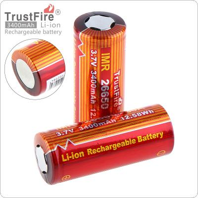 TrustFire 2pcs 26650 3.7V 3400mAh Li-ion Rechargeable Battery with Safety Relief Valve for LED Flashlight / Headlamp / Bicycle Lamp