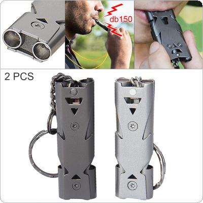 150db Stainless Steel Emergency Survival Whistle Hiking Camping Outdoor Sports Tools with Keychain and Double Tube for Outdoor/Camping/Hiking