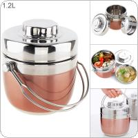 Portable Stainless Steel Lunch Box with Double Deck Multipurpose Bento Box for Food Container Storage