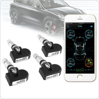 4pcs Smart Car TPMS Bluetooth 4.0 Tyre Tire Pressure Monitoring System APP Display Internal Sensors Support Android IOS