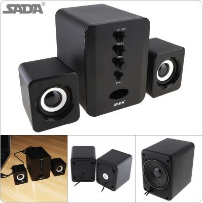 SADA D-202 Portable Mini  3W Combination Bass Subwoofer Speaker Column Computer Speaker with 3.5mm Audio Plug and 2.1 USB Wired for Desktop PC Laptop Cellphone
