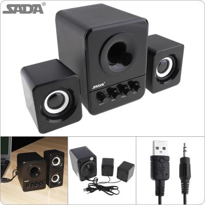 SADA D-203 Wired Mini Portable Bass Cannon 3W PC Combination Speaker Mobile Column Computer Speaker with 3.5mm Audio Plug and USB 2.1 Wired for Laptop Computer
