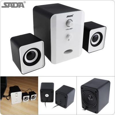 SADA D-201 Portable 3W Mini Combination Mega Bass Subwoofer Speaker Column Computer Speaker with 3.5mm Audio Plug and USB Power Plug for DVD TV PC