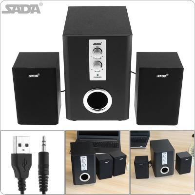 SADA Q1 Wireless Bluetooth 2.1 3 Canale Combination Wooden Subwoofer Speaker Column Computer Speaker with TF USB for Desktop PC Laptop Mobile Phone