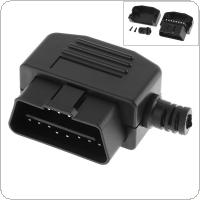OBD-II  L Type 16 Pin Male Connector Wire Sockets Connector Plug with Shell and Screw