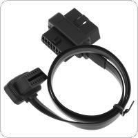 One Drag Two OBD-II 90 Degrees L Type 16 Pin Male to Double 16 Pin Female Extended Connector Cable with 58CM Line for Car Diagnostic Tool