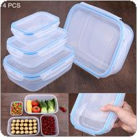 4pcs Rectangular Large-capacity Plastic Sealed Boxes  Lunch Boxs Airtight  Transparent Storage Container Box with Lid for Household Storage / Food Preservation