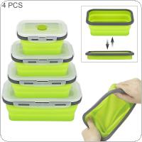 4pcs/set Portable Rectangle Silicone Scalable Folding Lunchbox Bento Box with Silicone Sealing Plug for - 40 Degrees ~ 230 Degrees