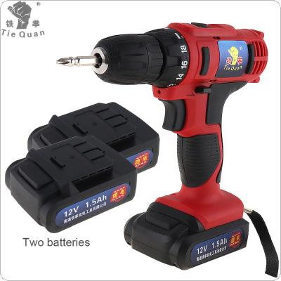 AC 100 - 240V Cordless 12V Electric Drill / Screwdriver with 2 Lithium Batteries and Two-speed Adjustment Button for Handling Screws / Punching