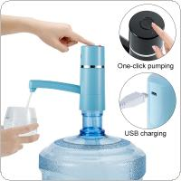 ZILU Portable Blue Push Button 360 Degree Rotation Wireless Rechargeable Electric Water Pump with USB Cable and Indicator Light for 4.5L - 18.9L Barrelled Water