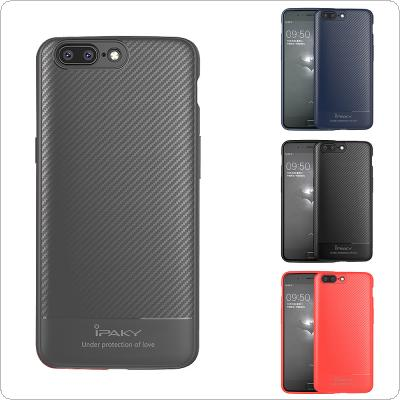 IPAKY Soft Silicone TPU Anti-drop 1+ Phone Cases with Carbon Fiber Weave for One Plus