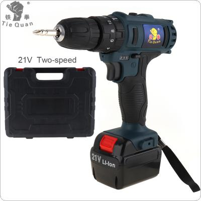 AC 110 - 220V Impact Cordless 21V Electric Drill / Screwdriver with 45 N*M Lithium Battery and Two-speed Adjustment Button for Handling Screws / Punching