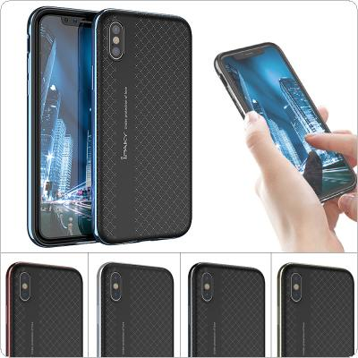 IPAKY TPU + PC Soft Silicone Anti-friction Phone Cases with Metal Touching for iPhone X