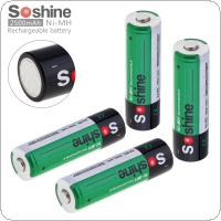 Soshine 4pcs Ni-MH R6 AA 2500mAh Rechargeable Batteries + Portable Battery Box for Alarm / Clock / Wireless Mouse / Game Handle / Wireless Microphone