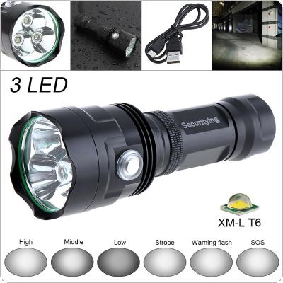 SecurityIng Super Bright 3x XM-L T6 LED 2400Lumens Waterproof Flashlight Torch with 6 Modes Light Support USB Charging for Household / Outdoor