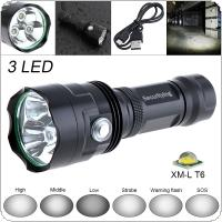 SecurityIng Super Bright 3x XM-L T6 LED 2400 Lumens Waterproof Flashlight Torch with 6 Modes Light Support USB Charging for Household / Outdoor