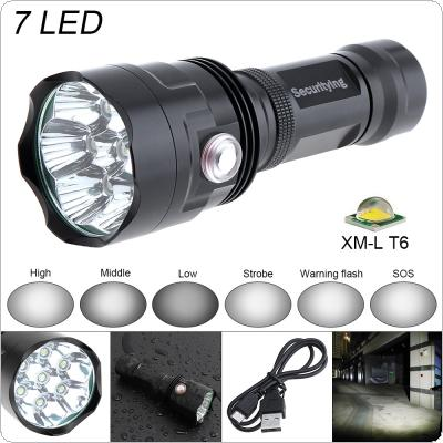 SecurityIng Super Bright 7x XM-L T6 LED 3800Lumens Waterproof Flashlight Torch with 6 Modes Light Support USB charging for Household / Outdoor
