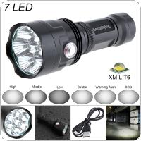 SecurityIng Super Bright 7x XM-L T6 LED 3800 Lumens Waterproof Flashlight Torch with 6 Modes Light Support USB Charging for Household / Outdoor