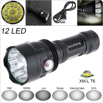 SecurityIng Super Bright 12x XM-L T6 LED 5000Lumens Waterproof Flashlight Torch with 6 Modes Light Support USB charging for Household / Outdoor