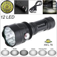 SecurityIng Super Bright 12x XM-L T6 LED 5000 Lumens Waterproof Flashlight Torch with 6 Modes Light Support USB Charging for Household / Outdoor