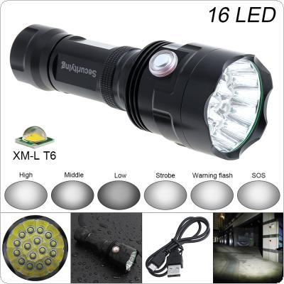 SecurityIng Super Bright 16x XM-L T6 LED 7200Lumens Waterproof Flashlight Torch with 6 Modes Light Support USB charging for Household / Outdoor
