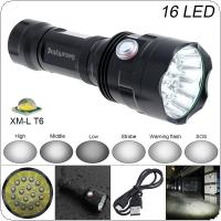 SecurityIng Super Bright 16x XM-L T6 LED 7200 Lumens Waterproof Flashlight Torch with 6 Modes Light Support USB Charging for Household / Outdoor