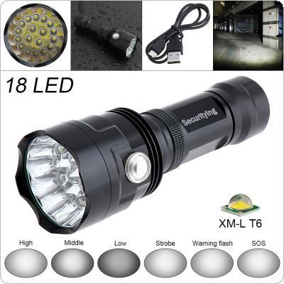 SecurityIng Super Bright 18x XM-L T6 LED 9000Lumens Waterproof Flashlight Torch with 6 Modes Light Support USB charging for Household / Outdoor
