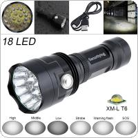SecurityIng Super Bright 18x XM-L T6 LED 8000 Lumens Waterproof Flashlight Torch with 6 Modes Light Support USB Charging for Household / Outdoor