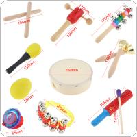 10 Kinds Colorful Musical Instruments Set 6 Inch Drum Percussion Toys Mixed for Children Baby Early Education