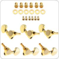 6pcs Gold Plated Guitar Tuning Pegs 3R+3L All Closed Machine Heads Tuners for 40 / 41 Inch Acoustic Folk Guitar