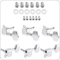 6pcs Silver Guitar Tuning Pegs Tuner 3R+3L All Closed Machine Head for 40 / 41 Inch Acoustic Folk Guitar