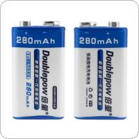 Doublepow 9V 280mAh NI-MH LSD Rechargeable Battery with 1A Charge Current for Microphones / Multimeters