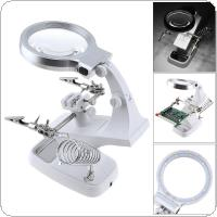 4.5X USB 360 Rotation Desk-top Multifunctional Adjustable Welding Magnifier with Alligator Clip Holder Clamp and 10 High Brightness LED Light for Inspection