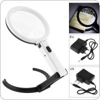 1.8X / 5X ABS + Acrylic Lens Desk-top Multifunctional Foldable Rechargeable Magnifier with 12 LED Light for Reading and Inspection