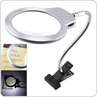 5X ABS + Metal Clip-on Adjustable Magnifier with LED Light and Antiskid Clip for Inspection and Repair
